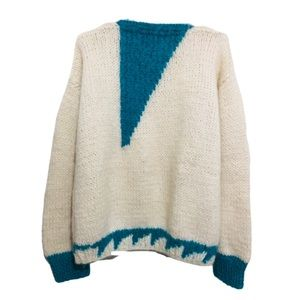 Vintage Hand Knit Geometric Wool Blend Sweater XL